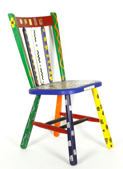 "<div class=""meta ""><span class=""caption-text "">Decoupage decorated Oprah chair, signed ""Jennifer 1997,"" art chair created by a fan for Oprah Winfrey, 33"" h x 17"" w x 18"" d. Property of Oprah Winfrey. EST: $100 - $200 More Information: http://www.kaminskiauctions.com/the-oprah-winfrey-collection/ </span></div>"