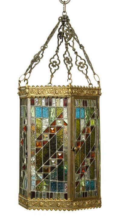 "Early 20th Century hanging light fixture, brass with leaded stained glass, including original gas oil lamp burner, multicolored glazed porcelain, 47"" h. Property of Bob Greene. EST: $1,500 - $2,500 More Information: http://www.kaminskiauctions.com/the-oprah-winfrey-collection/"