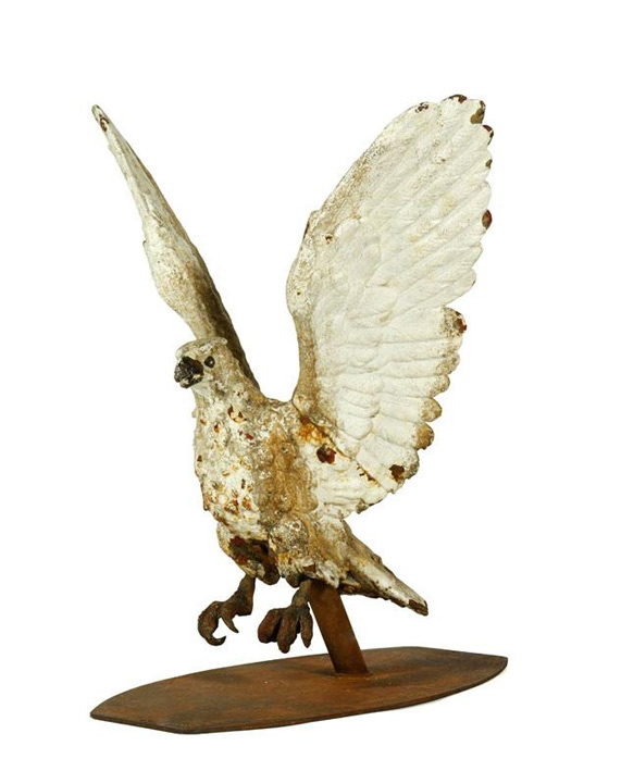 "19th Century pub sign in the form of an eagle, unique, white enameled cast iron, 31"" h x 29"" w x 27"" d. Property of Bob Greene. EST: $3,000 - $5,000 More Information: http://www.kaminskiauctions.com/the-oprah-winfrey-collection/"