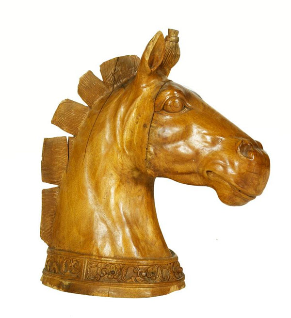"Continental carved horse head, wood, 23 1/2"" h x 20"" w x 10 1/2"" d. Property from various fine estates. EST: $1,000 - $1,500 More Information: http://www.kaminskiauctions.com/the-oprah-winfrey-collection/"
