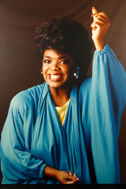 "Enlarged photograph of Oprah Winfrey, framed, 68"" h x 49"" w. Property of Oprah Winfrey. EST: $200 - $400 More Information: http://www.kaminskiauctions.com/the-oprah-winfrey-collection/"