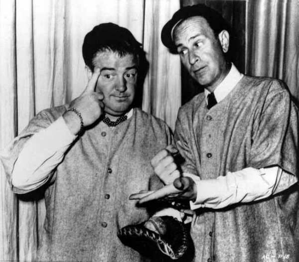 """<div class=""""meta image-caption""""><div class=""""origin-logo origin-image """"><span></span></div><span class=""""caption-text"""">Bud Abbott, right, and his partner Lou Costello, do their famous baseball sketch in an undated photo. They were best remembered for their zany """"Who's On First?"""" baseball routine. (Photo/AP Photo)</span></div>"""