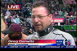 Official wing counter  Greg Gerwitz estimated the contestants would go through about 7,000 wings.