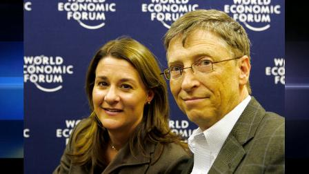 Co-Chairs of the Bill and Melinda Gates Foundation, USA, Bill Gates, right, and Melinda Gates, sit together prior to an interview at the World Economic Forum in Davos, Switzerland, Friday Jan 30, 2009. (AP Photo/Michel Euler)