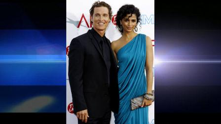 FILE - In this June 11, 2009 file photo, actor Matthew McConaughey, left, and Camila Alves arrives at the taping of the American Film Institute Life Achievement Awards honoring actor Michael Douglas in Culver City, Calif. (AP Photo/Matt Sayles, file)