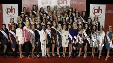 FILE - Miss America contestants arrive at the 2010 Miss America Pageant, in this Jan. 21, 2010 file photo taken at The Planet Hollywood Resort and Casino in Las Vegas.