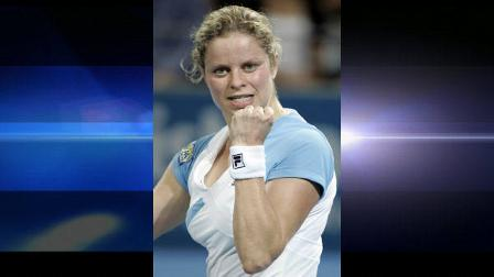 Belgiums Kim Clijsters reacts to her victory over Lucie Safarova of the Czech Republic during the Brisbane International tennis tournament in Brisbane, Australia, Thursday, Jan. 7, 2010. (AP Photo/Tertius Pickard)