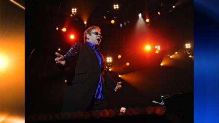 British pop singer and composer Elton John performs in Kosice, Slovakia, Tuesday, June 22, 2010. (AP Photo/CTK, Peter Lazar)