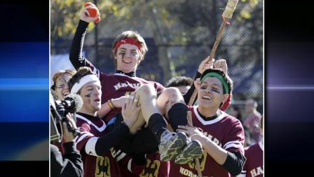 Harvard Hortails Billy Gorman celebrates with his team mates in the Quidditch match against University of Richmond during the 4th annual Quidditch World Cup held at Dewitt Clinton Park Saturday, Nov. 13, 2010 in New York.