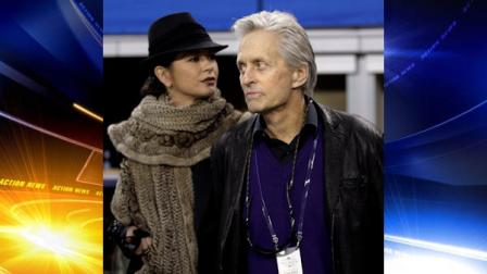 Michael Douglas and Catherine Zeta-Jones arrive at Cowboys Stadium to watch the NFL football Super Bowl XLV game between the Green Bay Packers and the Pittsburgh Steelers Sunday, Feb. 6, 2011, in Arlington, Texas. (AP Photo/Paul Sancya)