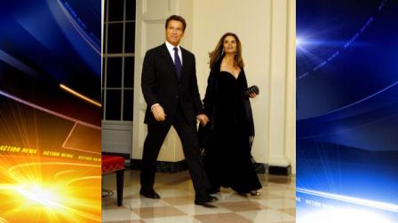 California Gov. Arnold Schwarzenegger, left, and his wife Maria Shriver, right, arrive at the White House to attend a dinner hosted by President Obama, Sunday, Feb. 22, 2009 in Washington.