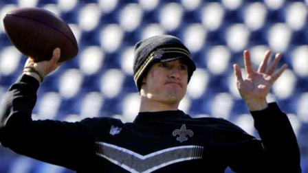 New Orleans Saints quarterback Drew Brees warms up before the start of an NFL football game between the Saints and the Tennessee Titans on Sunday, Dec. 11, 2011, in Nashville, Tenn. (AP Photo/Frederick Breedon)