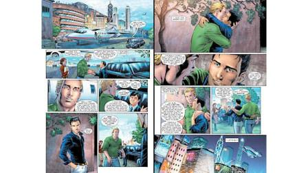 This combo made from images provided by DC Entertainment shows pages from the second issue of the companys Earth 2 comic book series featuring Alan Scott, the alter ego of its Green Lantern character, who is revealed to be gay. The reveal is the latest example of how comics publishers big and small are making their characters just as diverse as the people who read their books. The issue will be available on June 6, 2012