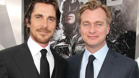 This July 16, 2012 photo released by Starpix shows actor Christian Bale, left, and director Christopher Nolan at the world premiere of their film The Dark Knight Rises, in New York. (AP Photo/Starpix, Dave Allocca)