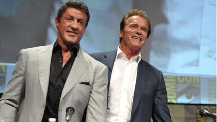 Sylvester Stallone and Arnold Schwarzenegger attend The Expendables Panel at Comic-Con on Thursday, July 12, 2012 in San Diego, Calif. (Photo by John Shearer/Invision/AP)