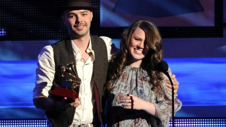 Jesse and Joy accept the best contemporary pop vocal album award for Con Quien Se Queda el Perro at the 13th Annual Latin Grammy Awards at Mandalay Bay on Thursday, Nov. 15, 2012, in Las Vegas. (Photo by Al Powers/Powers Imagery/Invision/AP)