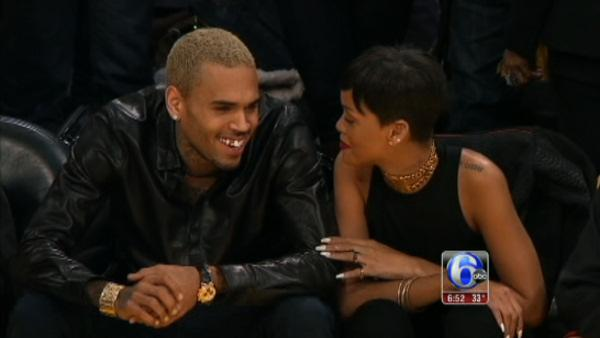 Rihanna, Chris Brown together at Lakers game
