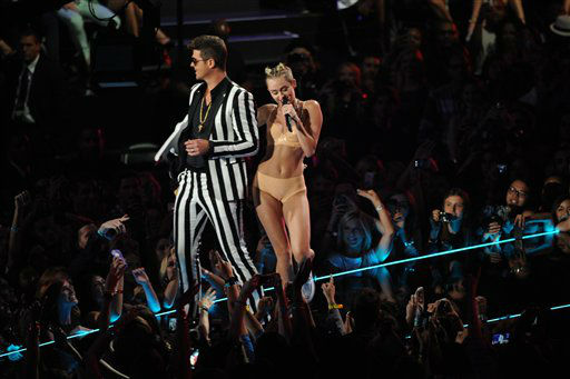 Miley Cyrus performs at the MTV Video Music Awards on Sunday, Aug. 25, 2013, at the Barclays Center in the Brooklyn borough of New York. (Photo by Charles Sykes/Invision/AP)