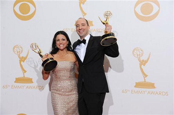 "<div class=""meta ""><span class=""caption-text "">Julia Louis-Dreyfus winner of the award for outstanding supporting actress in a comedy series for her role on 'Veep' poses with Tony Hale winner of the award for outstanding supporting actor in a comedy series for his role on 'Veep' at the 65th Primetime Emmy Awards at Nokia Theatre on Sunday Sept. 22, 2013, in Los Angeles.   (Photo by Scott Kirkland/Invision for Academy of Television Arts & Sciences/AP Images)</span></div>"