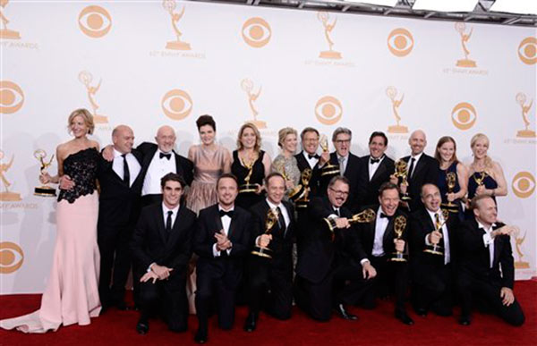 "<div class=""meta ""><span class=""caption-text "">RJ Mitte, Anna Gunn, Dean Norris, Betsy Brandt, Bryan Cranston, Aaron Paul, Bob Odenkirk and Jonathan Banks with show creator Vince Gilligan and producers, winners of the Best Drama Series Award for 'Breaking Bad' poses backstage at the 65th Primetime Emmy Awards at Nokia Theatre on Sunday Sept. 22, 2013, in Los Angeles.   (Photo by Dan Steinberg/Invision/AP)</span></div>"