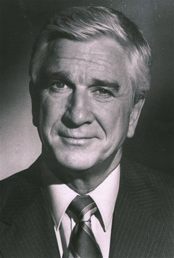 This 1980 publicity file photo provided by Paramount Pictures shows Leslie Nielsen.  The Canadian-born actor, who went from drama to inspired bumbling as a hapless doctor in &#34;Airplane!&#34; and the accident-prone detective Frank Drebin in &#34;The Naked Gun&#34; comedies, has died. He was 84. His agent John S. Kelly said Nielsen died Sunday, Nov. 28, 2010, at a hospital near his home in Florida where he was being treated for pneumonia. <span class=meta>(AP Photo &#47;Paramount)</span>