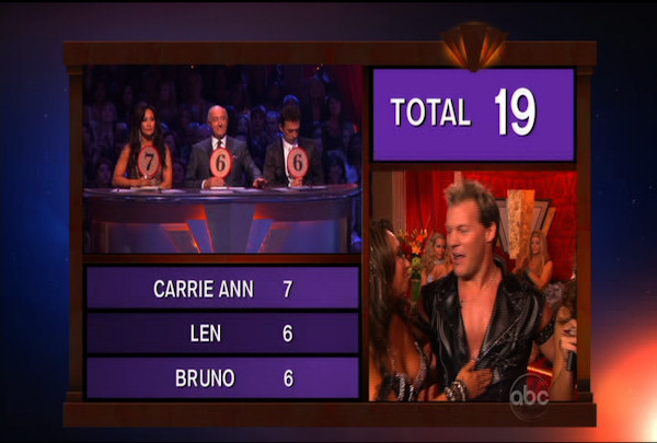 "<div class=""meta ""><span class=""caption-text "">Chris Jericho & Cheryl Burke danced the Cha-Cha-Cha during Week 1 of Season 12 of Dancing with the Stars. They received a score of 19.</span></div>"
