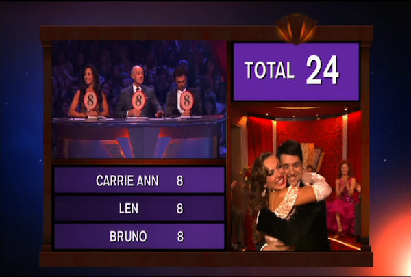 "<div class=""meta ""><span class=""caption-text "">Ralph Macchio & Karina Smirnoff danced the Foxtrot during Week 1 of Season 12 of Dancing with the Stars. They received a score of 24.</span></div>"