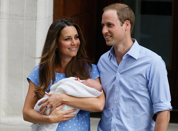 "<div class=""meta ""><span class=""caption-text "">Britain's Prince William, right, and Kate, Duchess of Cambridge hold the Prince of Cambridge, Tuesday July 23, 2013, as they pose for photographers outside St. Mary's Hospital exclusive Lindo Wing in London where the Duchess gave birth on Monday July 22. The Royal couple are expected to head to London's Kensington Palace from the hospital with their newly born son, the third in line to the British throne. (AP Photo/Kirsty Wigglesworth)   </span></div>"