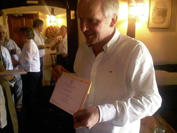 Monday April 25, 2011 - John Haley, owner of The Old Boot Inn in Bucklebury, shows off his Royal Invite. His story at 11!