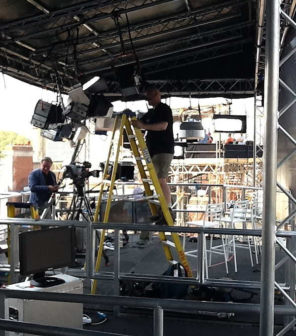 Workers are getting the live locations set up for media from all around the world.