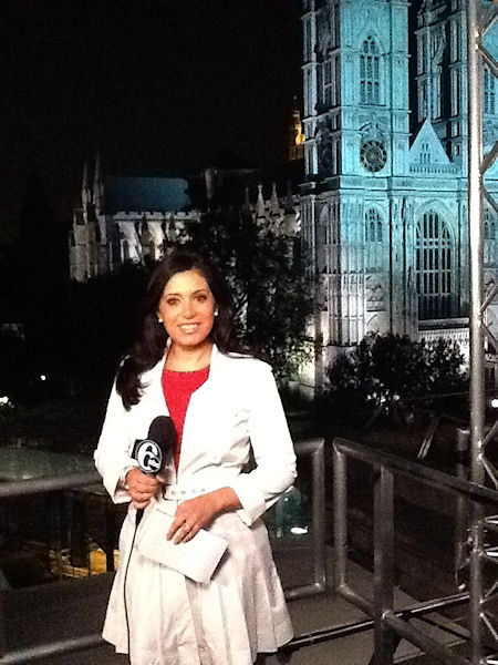 Action News' Alicia Vitarelli getting set for a liveshot in front of Westminster Abbey.