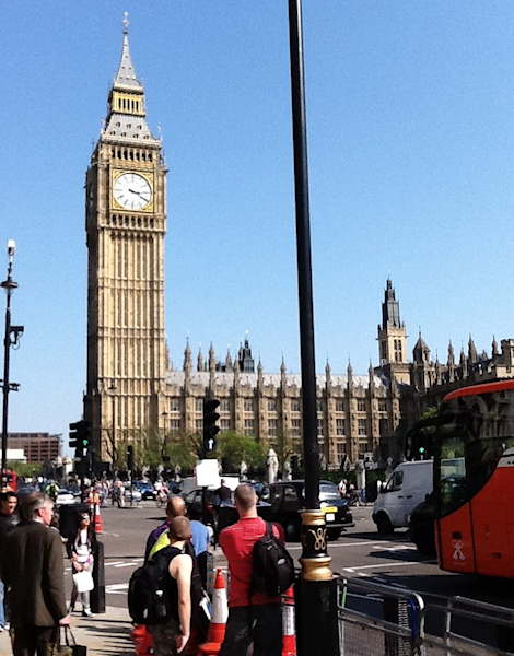Tourists stop for a look at Big Ben.