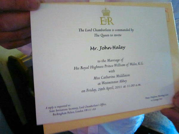 A real royal wedding invitation
