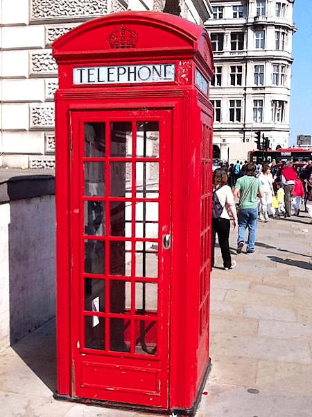 One of London's famous red phone booths. Where is Dr. Who?