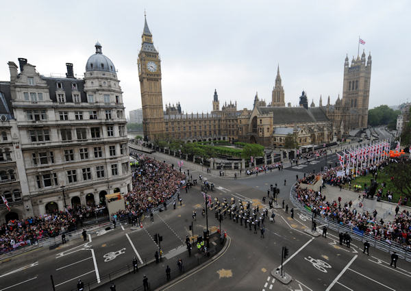 Military Bands play in Parliament Square, London, Friday April 29, 2011, prior to the wedding of Prince William and Kate Middleton at Westminster Abbey. (AP Photo/John Giles, pool)