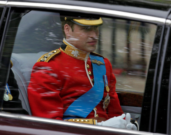 Britain's Prince William is on his way to Westminster Abbey at the Royal Wedding in London Friday, April, 29, 2011. (AP Photo/Alastair Grant)