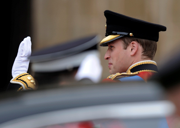 Britain's Prince William waves as he arrives at Westminster Abbey at the Royal Wedding with Kate Middleton in London Friday, April, 29, 2011. (AP Photo/Martin Meissner)