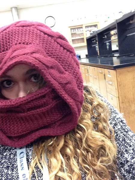 "Action News viewer Gabby LaRocca  posted this #6abcFrozenFaces pic on January 7, 2013: ""All bundled up in chem."""