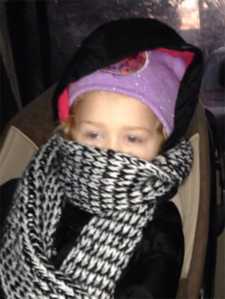 "Action News viewer Carrie Reilly posted this #6abcFrozenFaces pic on January 7, 2013: ""Early morning ride to preschool!"""