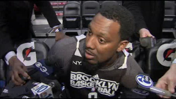 Brooklyn Nets forward Andray Blatche is interviewed by reporters during practice at the Wells Fargo Center in South Philadelphia on Tuesday, January 8, 2013.