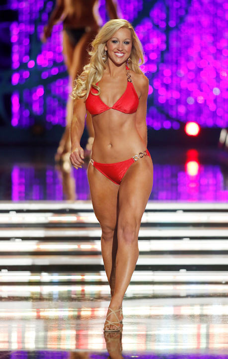 Miss Indiana MerrieBeth Cox competes in the swimsuit portion of the Miss America 2013 pageant on Saturday, Jan. 12, 2013, in Las Vegas. (AP Photo/Isaac Brekken)