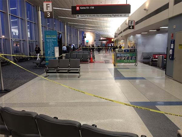 Action News viewer Paul Christensen sent us images that show the aftermath from inside terminal F at Philadelphia International Airport after a baggage cart crashed into the building Thursday night.