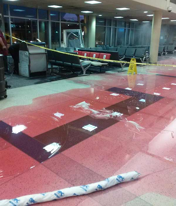 Action News viewer Tiffany Williams sent us images that show the aftermath from inside terminal F at Philadelphia International Airport after a baggage cart crashed into the building Thursday night.