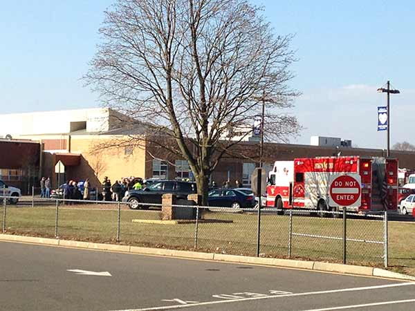 January 17, 2014: Authorities tell Action News a teacher at Hightstown High School on Leshin Lane in Hightstown, N.J. fell unconscious sometime before 9:00 a.m.