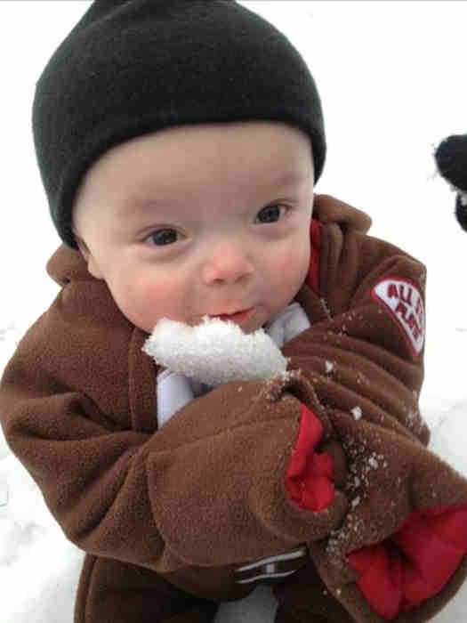 Baby Jon decided to take a bite out of the snow, while playing outside. <span class=meta>(An Action News viewer)</span>