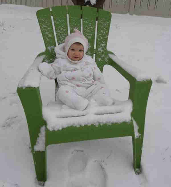 Baby Caroline is relaxing in a winter wonderland in Broomall, Pa. <span class=meta>(Christy Maier)</span>