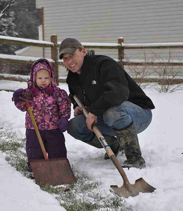 The Schallers sent in this photo of daughter Sydney shoveling the snow with dad. <span class=meta>(The Schallers)</span>