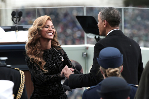 "<div class=""meta image-caption""><div class=""origin-logo origin-image ""><span></span></div><span class=""caption-text"">President Barack Obama greets singer Beyonce on the West Front of the Capitol in Washington, Monday, Jan. 21, 2013, after she sang the National Anthem during the president's ceremonial swearing-in ceremony during the 57th Presidential Inauguration. (AP Photo/Win McNamee, Pool)  </span></div>"