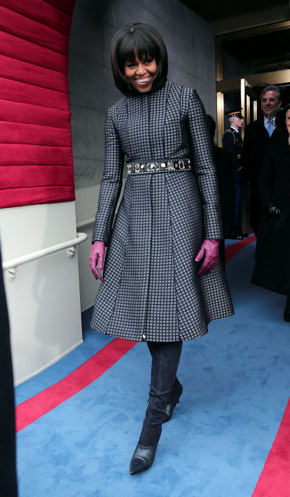 "<div class=""meta image-caption""><div class=""origin-logo origin-image ""><span></span></div><span class=""caption-text"">First lady Michelle Obama arrives on the West Front of the Capitol in Washington, Monday, Jan. 21, 2013, for the Presidential Barack Obama's ceremonial swearing-in ceremony during the 57th Presidential Inauguration. (AP Photo/Win McNamee, Pool)   </span></div>"