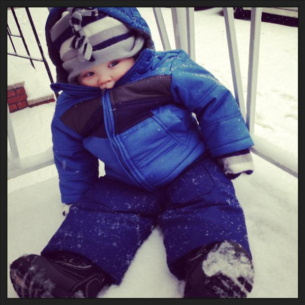 Stacey got her 8-month old son Gavin Smith all bundled up to brave the snow in South Philly.